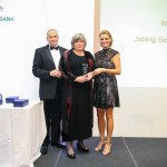 Heather Jobling (centre) receives the award